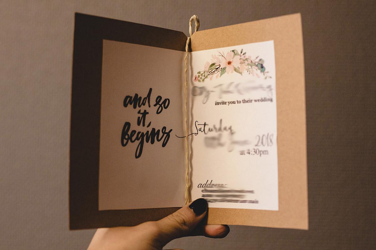 Hochzeitseinladungen Selbst Basteln Kraftpapier Und Wasserfarben