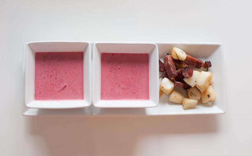 Rezept: Rote Beete Suppe mit Tintenfischfilets selber kochen