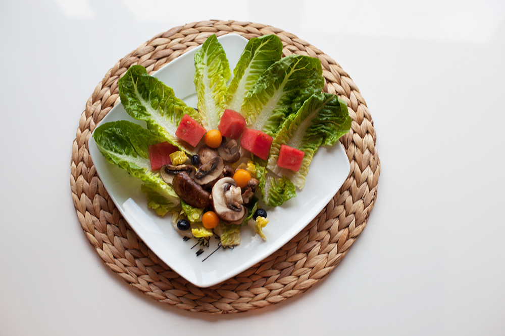 rezept salat mit wassermelone und warmen champignons talkasia. Black Bedroom Furniture Sets. Home Design Ideas